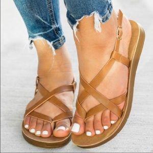 New tan crisscross sandals
